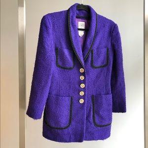 1990s Vintage French Purple Wool Boucle Blazer